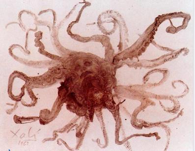 Salvador Dali. .La tête de medusa Drypoint 1963